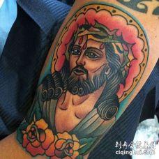 Old School大臂耶稣纹身图案