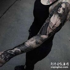 点线小臂羊纹身图案