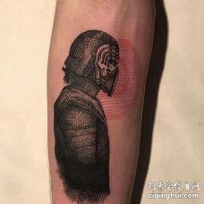 线条小臂人像纹身图案