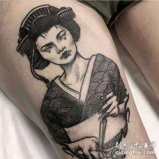 大腿艺伎纹身图案