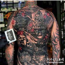 新传统后背鬼武士佛纹身图案
