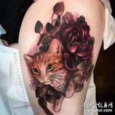 New School大腿猫花卉纹身图案