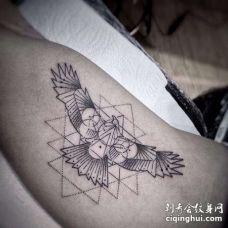 几何大臂老鹰纹身图案