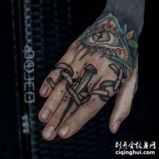 Old School手指钉子纹身图案