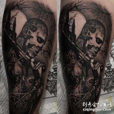 写实大臂僵尸男孩纹身图案