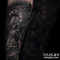 写实小臂天使纹身图案