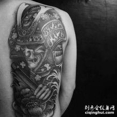 新传统后背鬼武士纹身图案