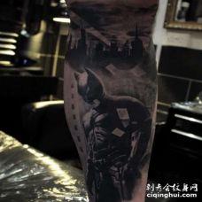 写实小腿蝙蝠侠纹身图案
