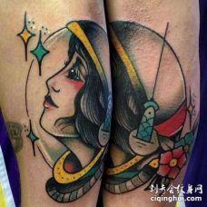 Old School大臂女宇航员纹身图案