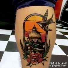 Old School小腿纹身图案