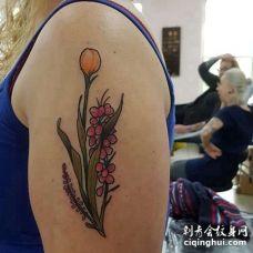 New School大臂叶子纹身图案