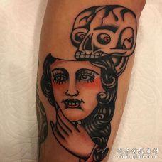 Old School小腿女人骷髅纹身图案