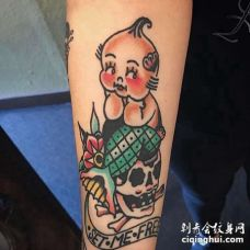 Old School小臂骷髅婴儿纹身图案