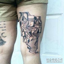 Old School大腿建筑纹身图案