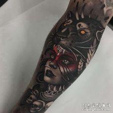 New School小臂女人老虎纹身图案