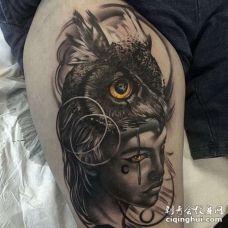 New School大腿猫头鹰女人纹身图案