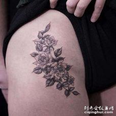 小清新侧腰花卉纹身图案