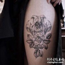 点线大腿玫瑰骷髅纹身图案