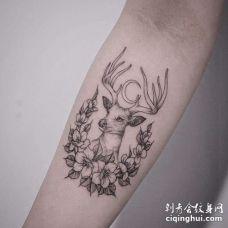 小清新小臂鹿花卉纹身图案
