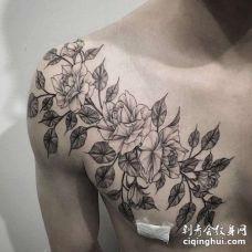 点线前胸玫瑰纹身图案