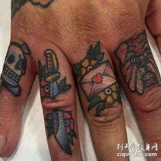 Old School手指纹身图案