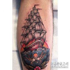 New School小腿帆船纹身图案