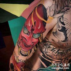 新传统大臂般若纹身图案