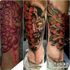 新传统小腿菊花般若纹身图案