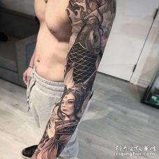 新传统胳膊鲤鱼艺伎纹身图案