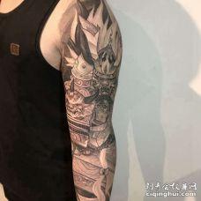 新传统胳膊鬼武士纹身图案