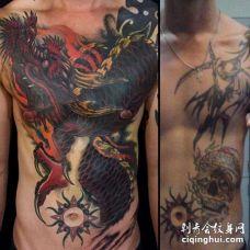 新传统前胸腹部龙纹身图案