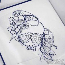 New School手稿石榴纹身图案