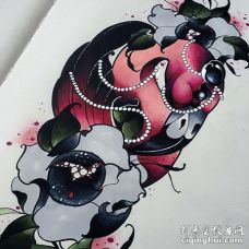 New School手稿火烈鸟纹身图案