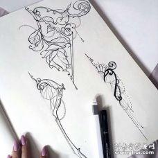 New School手稿纹身图案
