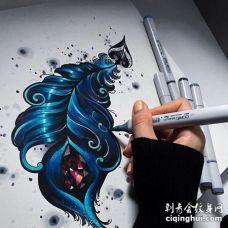 New School手稿羽毛纹身图案