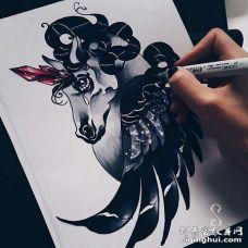 New School手稿独角兽纹身图案