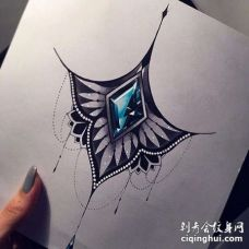 New School手稿宝石纹身图案