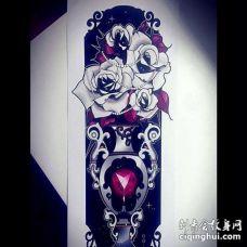 New School手稿花瓶玫瑰纹身图案