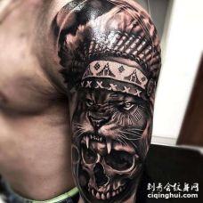 写实大臂老虎骷髅纹身图案