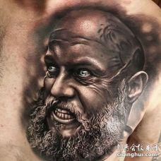写实前胸人像纹身图案