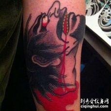 日式小臂武士纹身图案