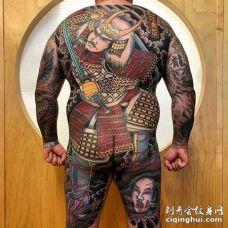日式后背鬼武士纹身图案