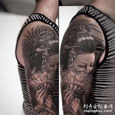 新传统胳膊艺伎纹身图案