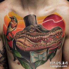 New School前胸鳄鱼纹身图案
