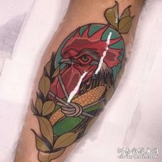 New School小臂公鸡纹身图案