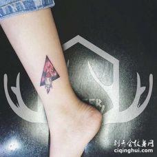 小清新脚踝火箭纹身图案