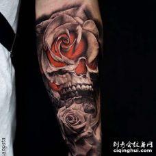写实小臂骷髅玫瑰纹身图案