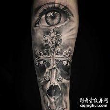 写实  小臂内侧 眼 十字架 骷髅