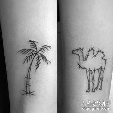小清新小腿骆驼椰子树纹身图案