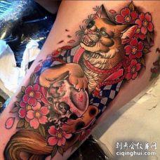 新传统大腿狐狸纹身图案